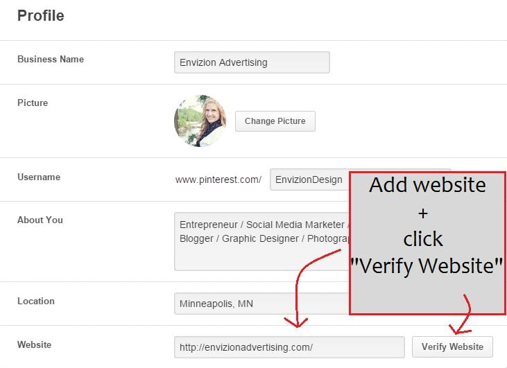 """Scroll down to """"Profile"""". Enter in your website or blog address and click """"Verify Website""""."""