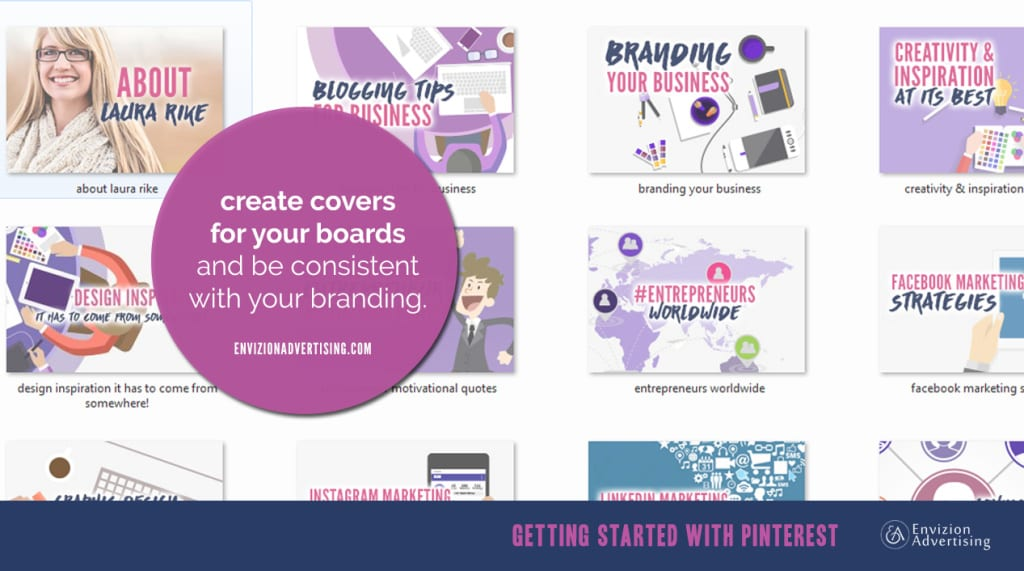 Create covers for your boards and use colors according to your branding