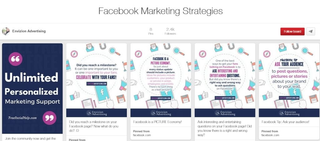 Pinterest Facebook Marketing Strategies Board
