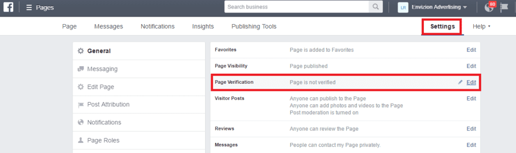 """You will click on that, and third down on the right-hand side it says """"Page Verification"""". Currently right now it says """"page is not verified"""", you click edit, and say that you would like to verify this page."""
