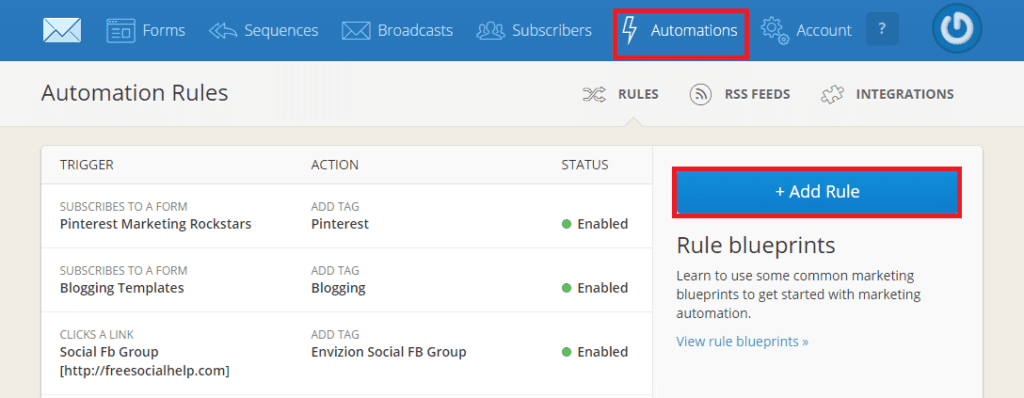 I've set up a couple of rules down here for a free video training that I'm offering and I'll show you all you have to do is go to automations and then add a rule.