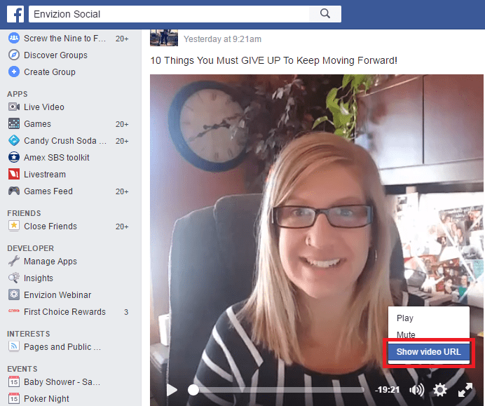 I am going to pause that there and then you right click on the video and you actually show video URL. Once you have this URL, you are going to open up in a new tab and you are going to paste the URL there.