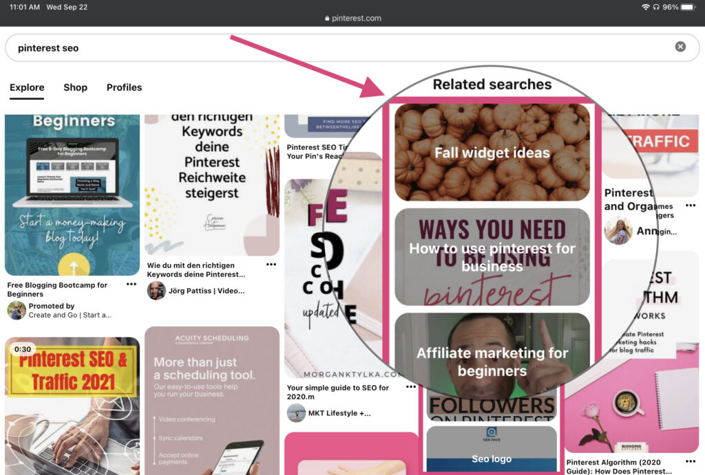 Pinterest suggested keyword search
