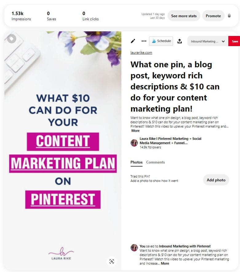 publish at a later date option personal pinterest account vs business account comparison